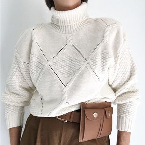 Off White Crochet Style Turtleneck Sweater